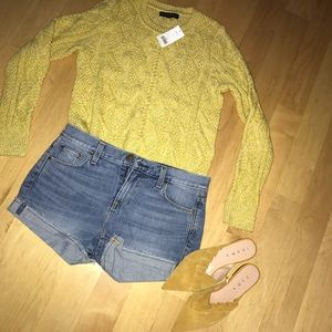 NWT BR heathered yellow cotton cable knit sweater
